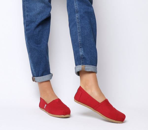 Womens Toms Classic Slip Ons Red