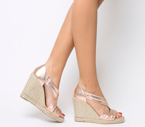 Womens Office Holiday Cross Front Espadrille Wedge Rose Gold Leather Heels