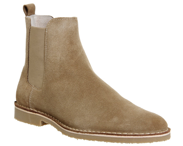 Mens Ask the Missus Danish Chelsea Boots Beige Suede