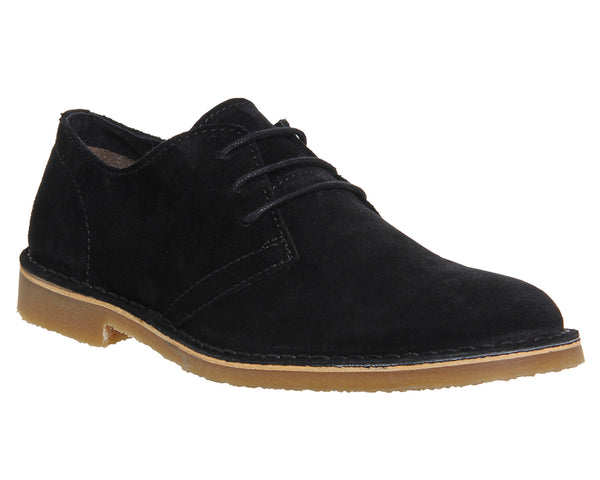 Mens Office Fahrenheit Desert Shoes Black Suede