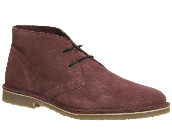 Mens Office Fahrenheit Desert Boots Wine Suede