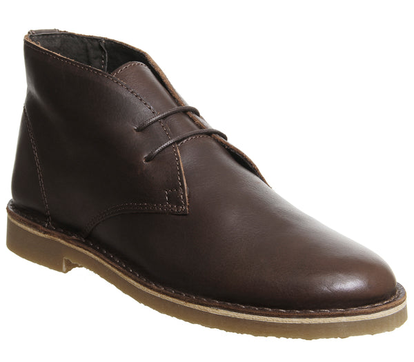 Mens Office Inferno Desert Boots Choc Leather