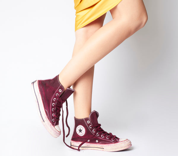Converse All Star Hi 70s Trainers Berry Dyed Worn Look