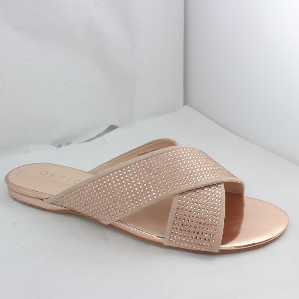 Womens Office Show Off Crystal Cross Strap Sandal Rose Gold