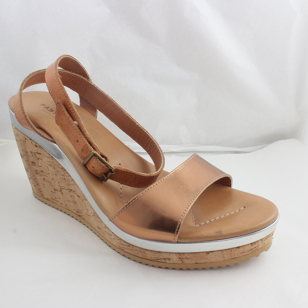Womens Office Ankle Strap Wedge Bronze Hi Shine Leather