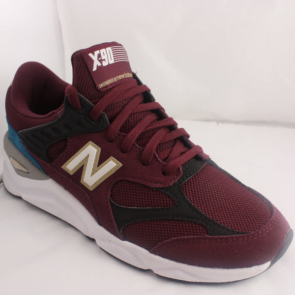 Womens New Balance X90 W Red Burgundy Black White And Blue Trainers UK Size 6