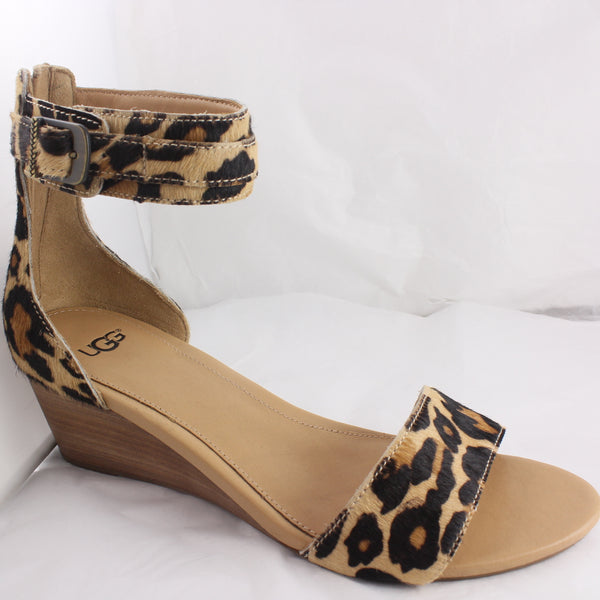 Womans Ugg Char Leopard Wedge Sandal Size 7.5