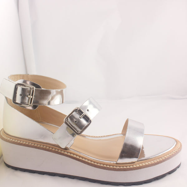 Womans Loeffler Randall Pia Wedge Silver Mirror Sandals UK Size 4