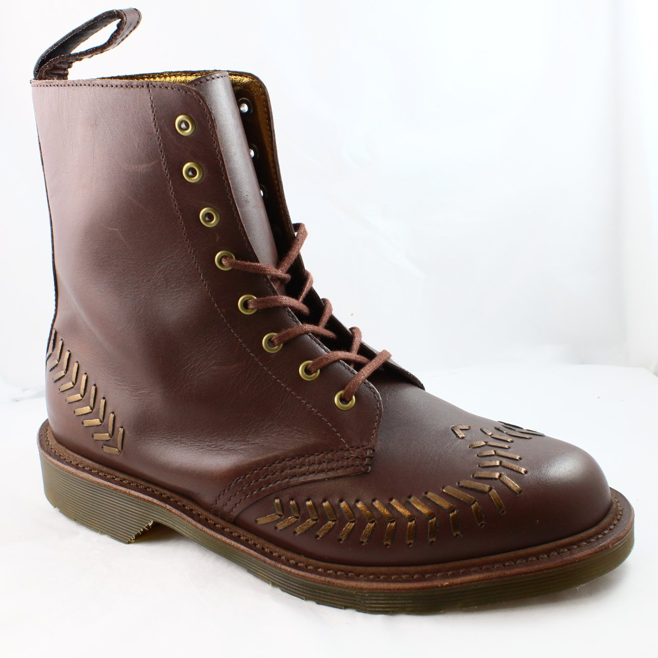 Womens Dr.Martens Crafted Olive Interlace Boot Dark Brown Bronze Leather