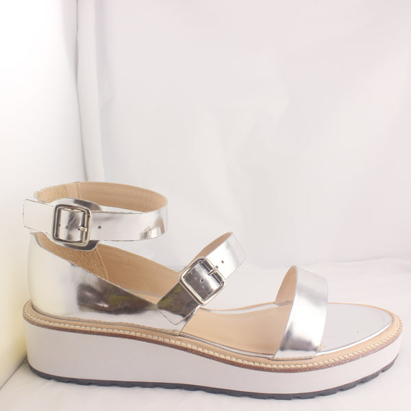 Womans Loeffler Randall Pia Wedge Silver Mirror Sandals UK Size 8