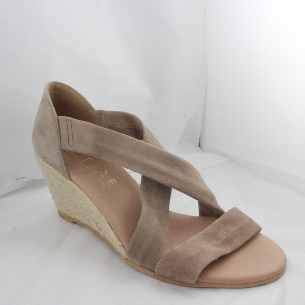 Womens Office Maiden Cross Strap Wedge Stone Suede