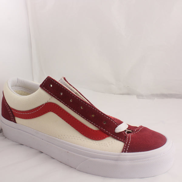 Womens Vans Old Skool OTW Webbing Red Cream Burgundy Trainers UK Size 3.5