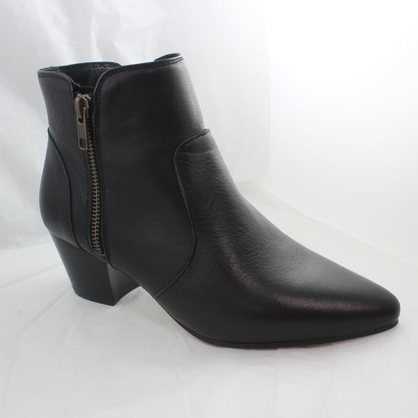 Womens Office Axl Side Zip Western Boots Black Leather