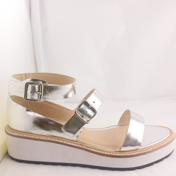 Womans Loeffler Randall Pia Wedge Silver Mirror Sandal UK Size 6