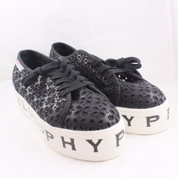 Womens Superga 3202 Black Broaderie Philosophy Uk Size 4