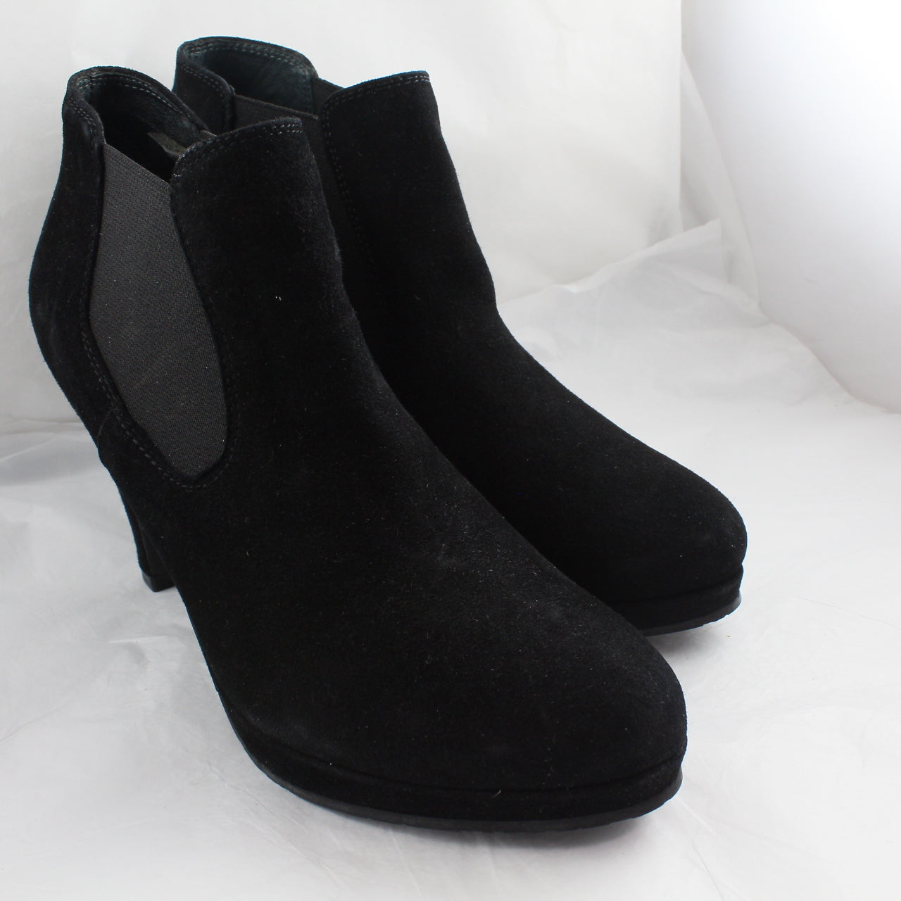 Womens Office Platform Ankle Elastic Bt Black Suede Uk Size 3