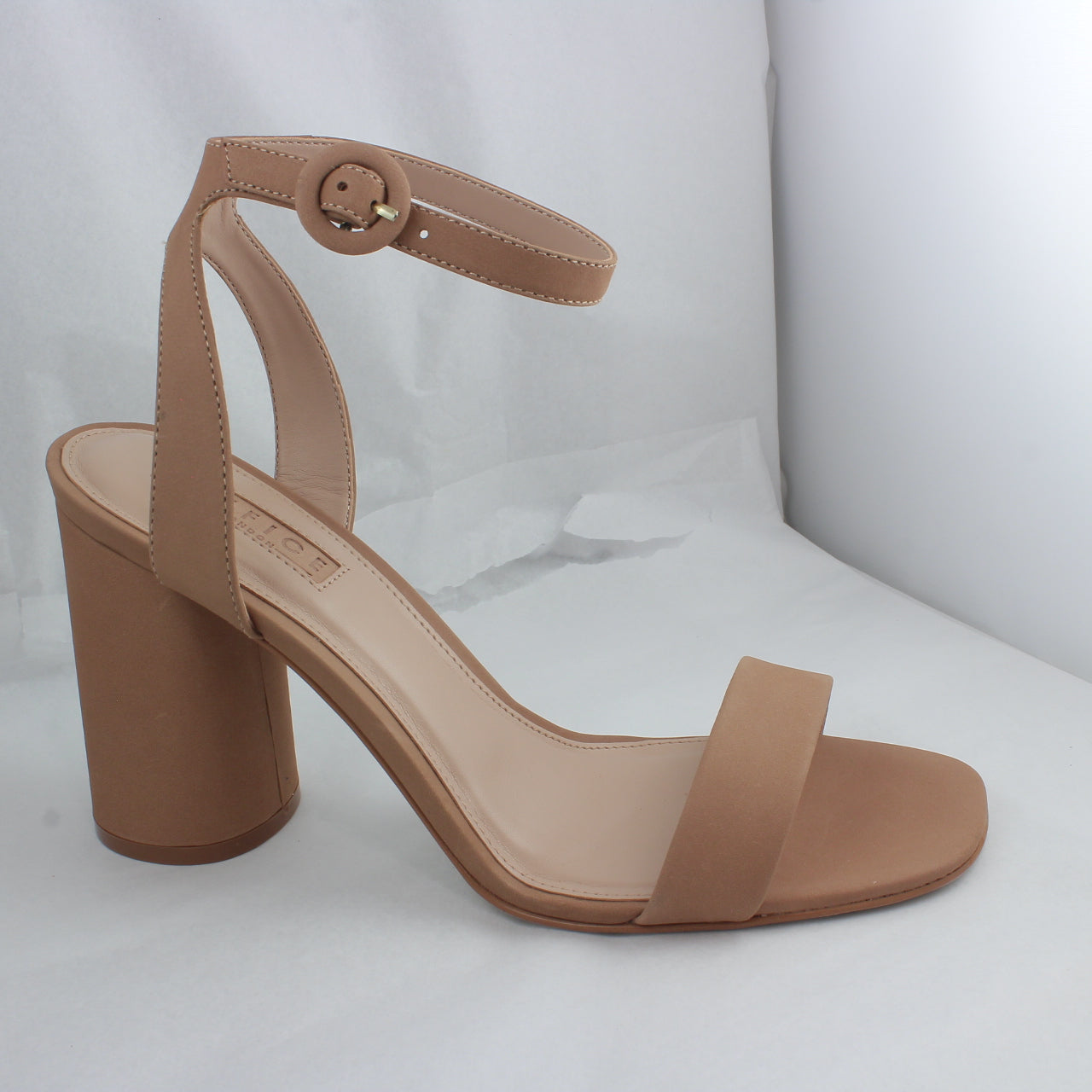 Womens Office Happy Go Lucky Cylindrical Heel Block Sandal Camel Leather