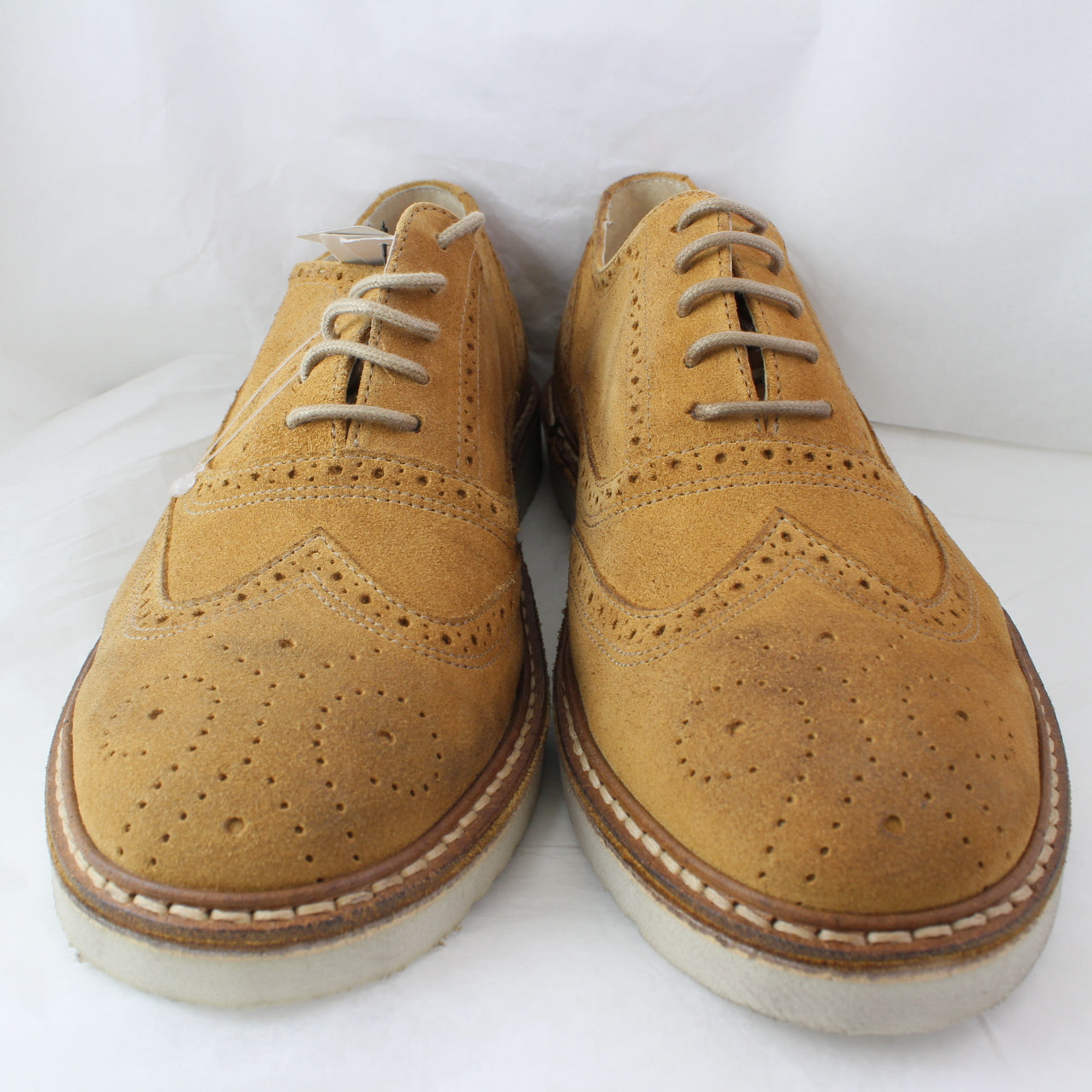 Mens Ten Points Avignon Brogue Shoe Camel Suede