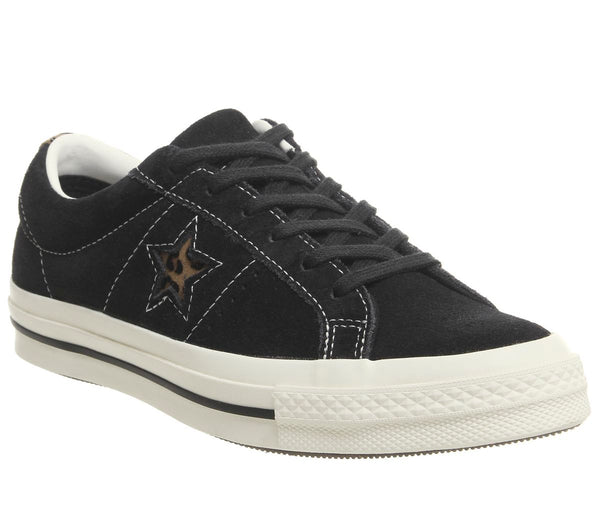 Converse One Star Trainers Black Egret Leopard