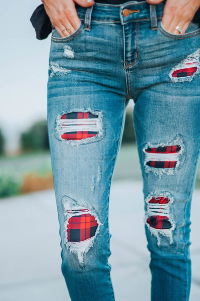 Women's Fashion Red Plaid Patch Destroyed Skinny Jeans