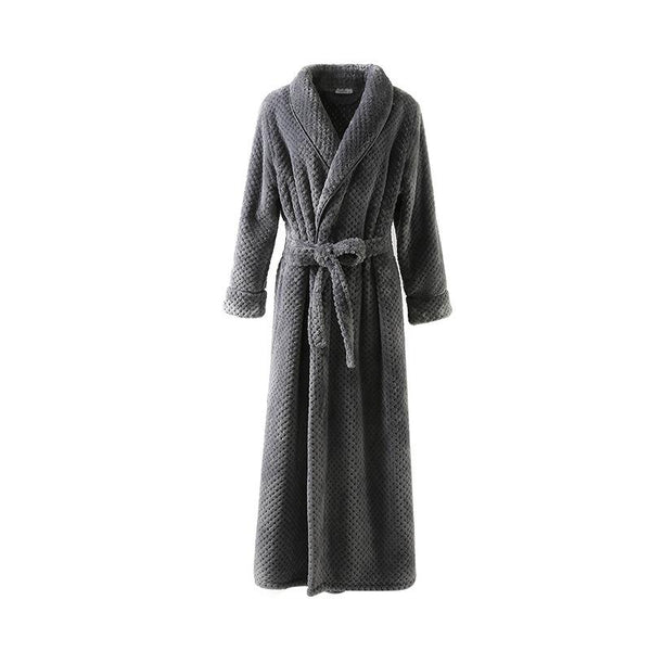 Women Winter Extra Long Robe Soft Warm Plus Size Flannel Peignoir