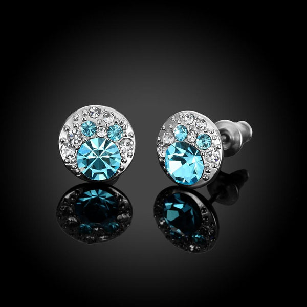 Aquamarine Mona Lisa Stud Earring in 18K White Gold Plated with