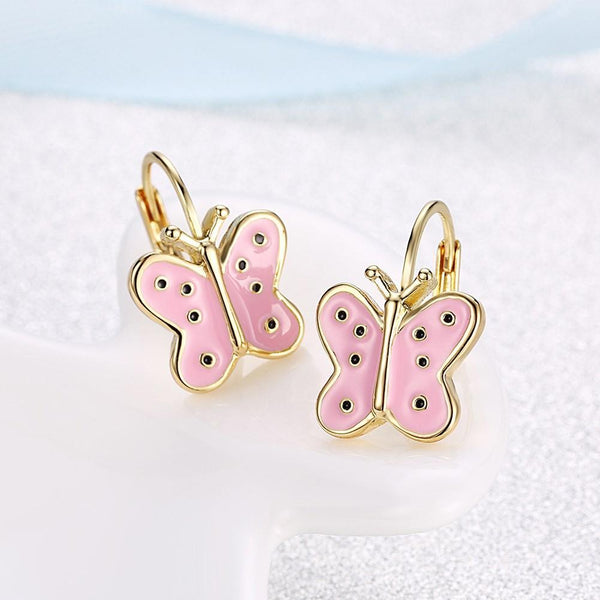 Pink Butterfly Leverback Earring in 18K Gold Plated