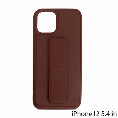 PU Leather Hand Grip Kickstand Case with Metal Plate for iPhone 12