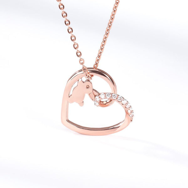 Crystal Lovely Rabbit Heart Pendant Necklaces For
