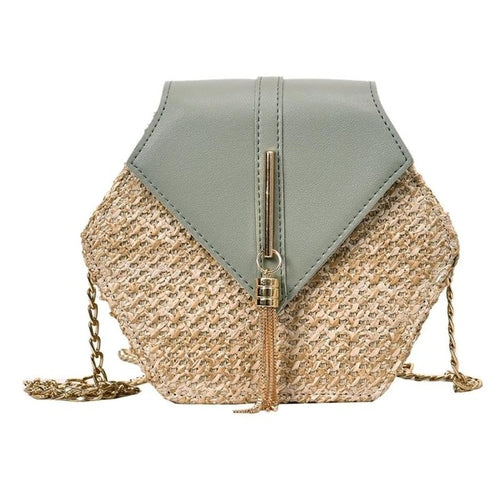 Fashion Hexagon Mulit Style Straw+pu Bag Handbags