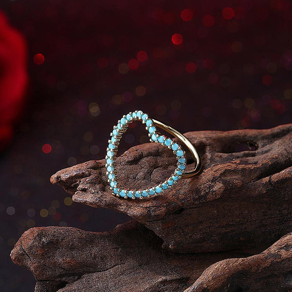 18K Gold Plated Turquoise Blue Heart Ring made with Swarovski Crystals