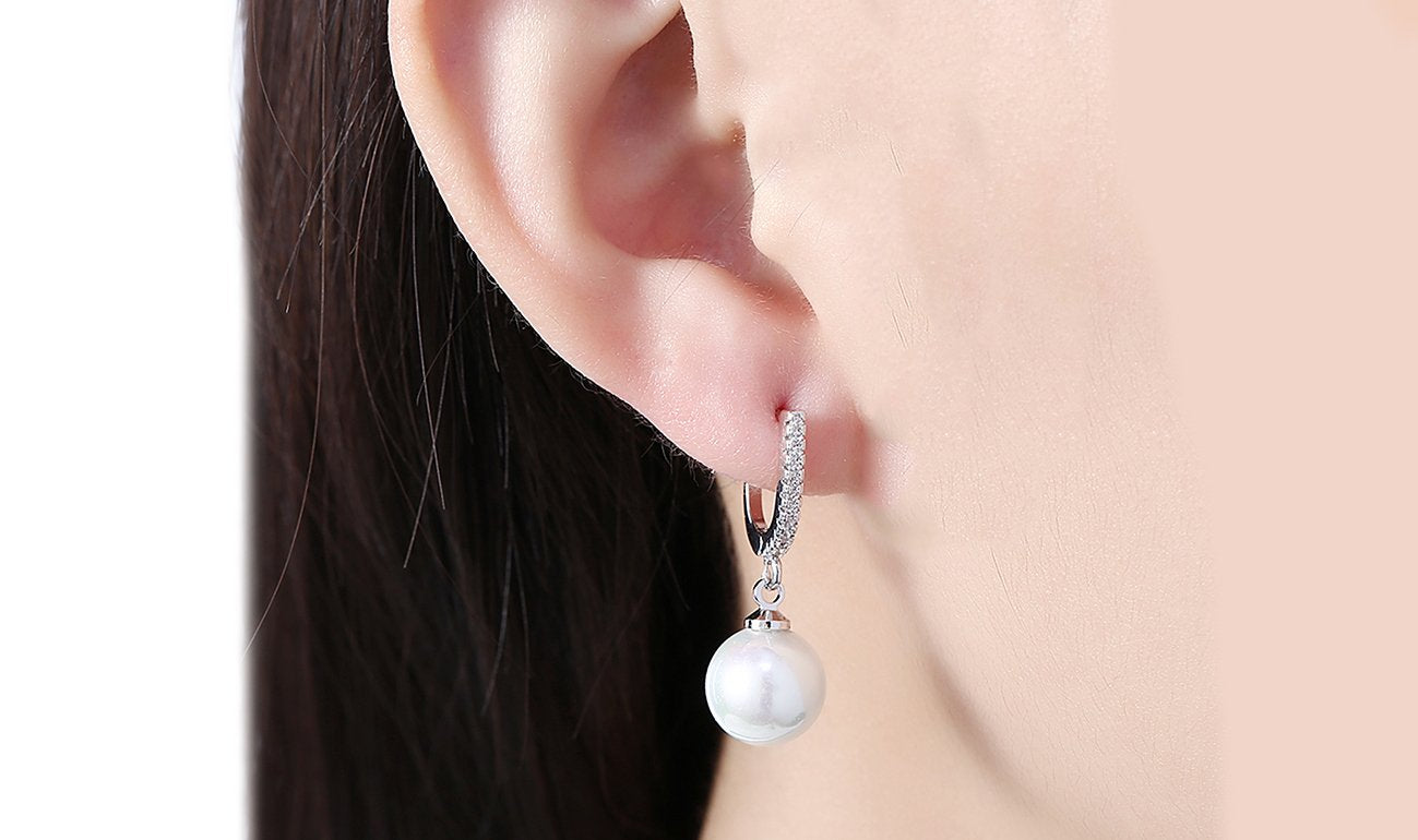 White Swarovski Elements Thin Dangling Freshwater Pearl Clip On