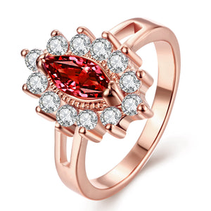 18K Rose Gold Plated Arlette Red Cluster Starbust Ring made with
