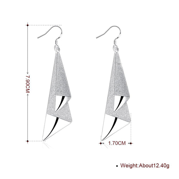 Triangle Drop Earring in 18K White Gold Plated