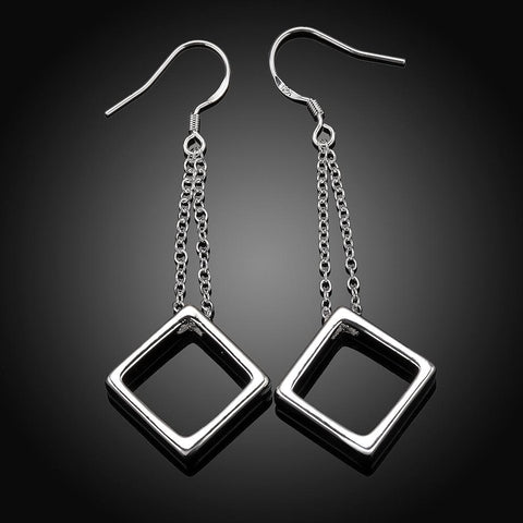 Square Drop Earring in 18K White Gold Plated