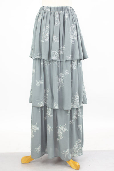 Layered Ruffle Maxi Skirt - Grey