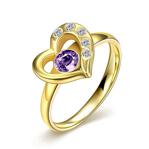 Purple Swarovski Black Gun Plating Heart Shaped Ring
