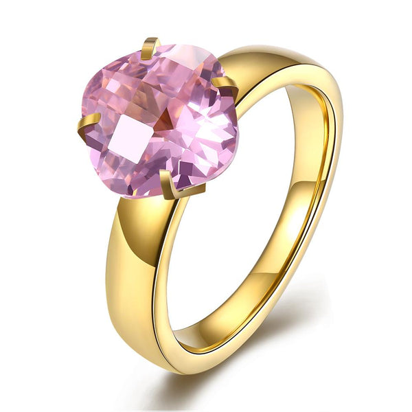 18K Gold over Stainless Steel Round Pink 1.00 Ct Swarovski Crystal