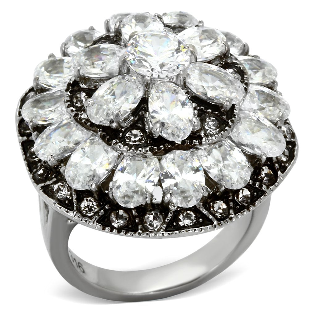 Women Stainless Steel Cubic Zirconia Rings TK1016