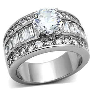 Women Stainless Steel Cubic Zirconia Rings TK1232