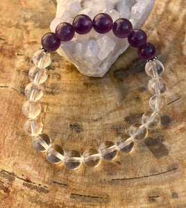 Amethyst & Crystal Quartz Stretch Bracelet! Handmade w/ Real Crystals!