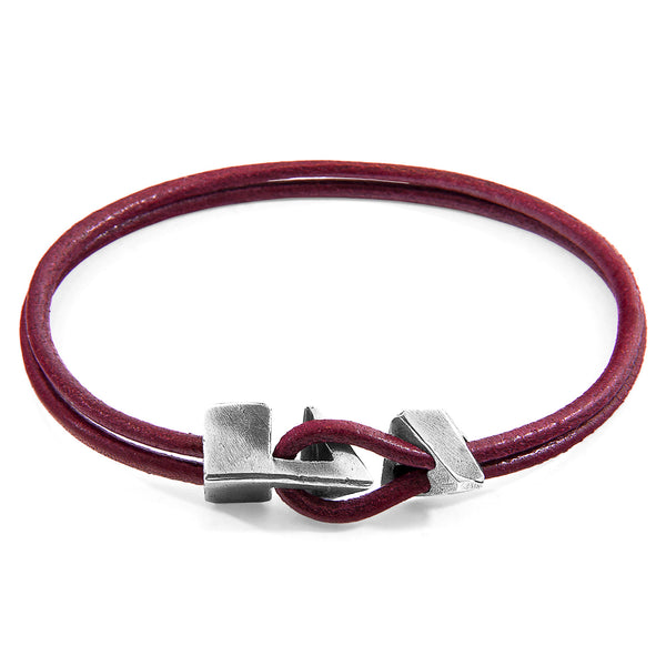 Bordeaux Red Brixham Silver & Leather Bracelet