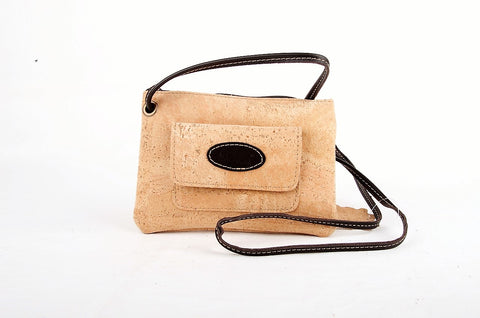 Cork Bag with Crossbody Strap, Leather Trim, Event bag