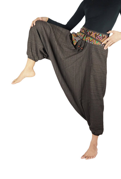 Brown Cotton Drop Crotch Women Tribal Boho Pants Hippie
