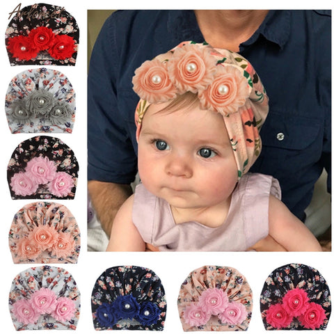 Baby Fashion Sun Flower Hat Newborn Cap Fetal Cap Basin Warm Girl Boys Cute Hats Kids