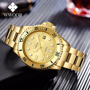 WWOOR Gold Watch Men 2020 Luxury Golden Full Steel Sport Quartz Watches For Men Luminous Waterproof Wrist Watch