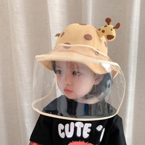 Kids Summer Bucket Hat Removable Sunscreen Shield For Child High-quality Cute cartoon Giraffe Skin
