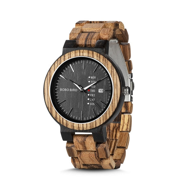 BOBO BIRD Wood Watches for Men, Week Date Display  High Quality Quartz Male Watches