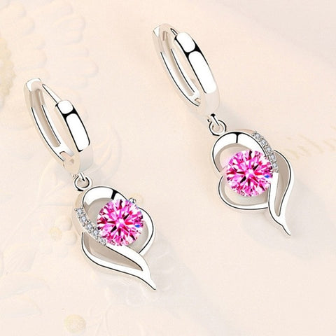 Sterling Silver New Woman Fashion Jewelry High Quality Blue Pink White Purple Crystal Zircon Earrings