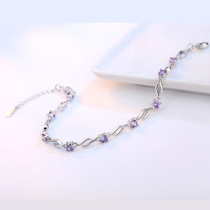 silver jewelry bracelet high quality retro fashion woman purple crystal four prong DIY bracelet length 20.5CM
